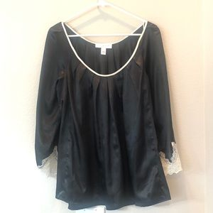 Oscar de la renta black lace pajama blouse